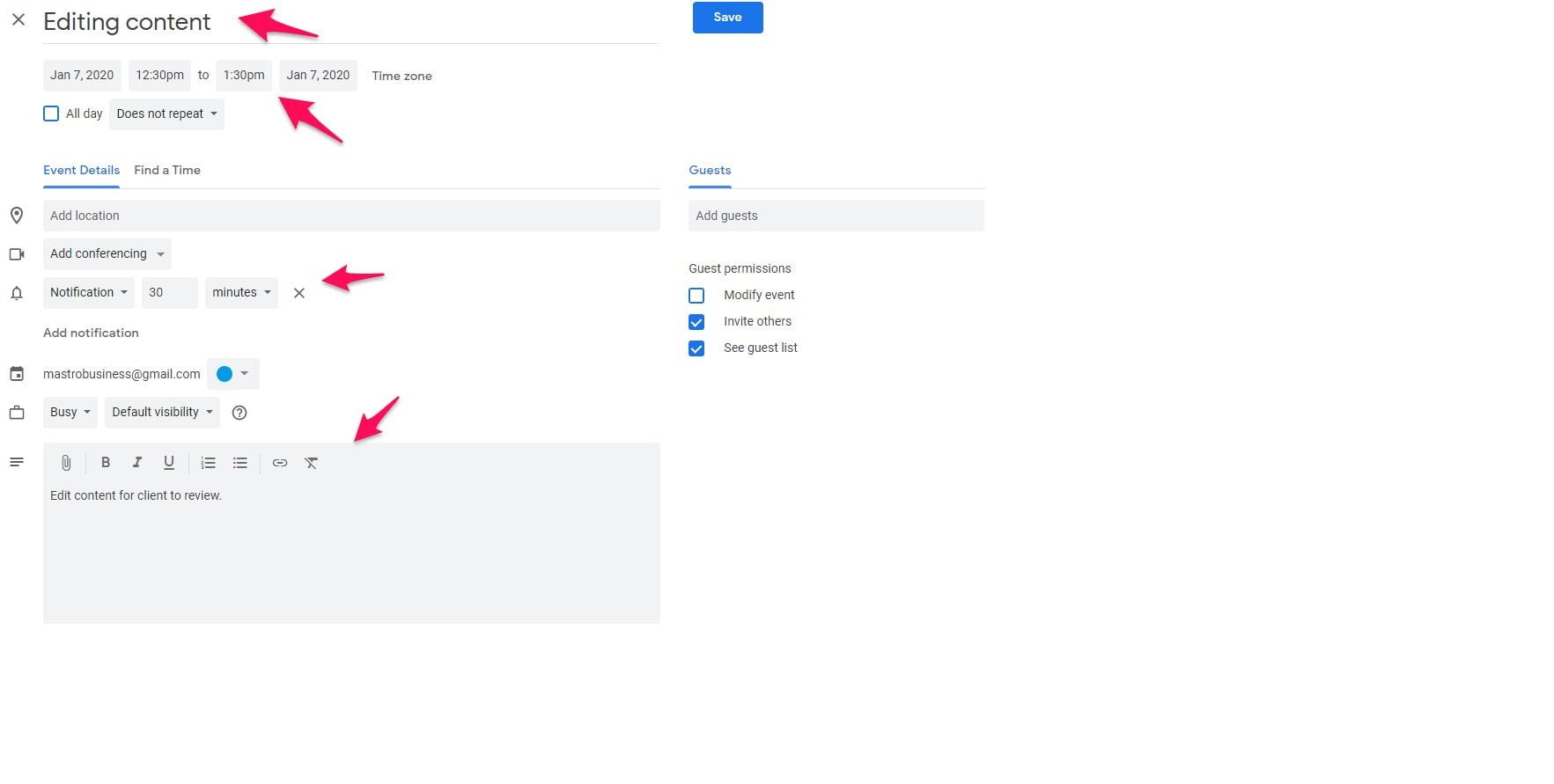 Google Calendar editing event