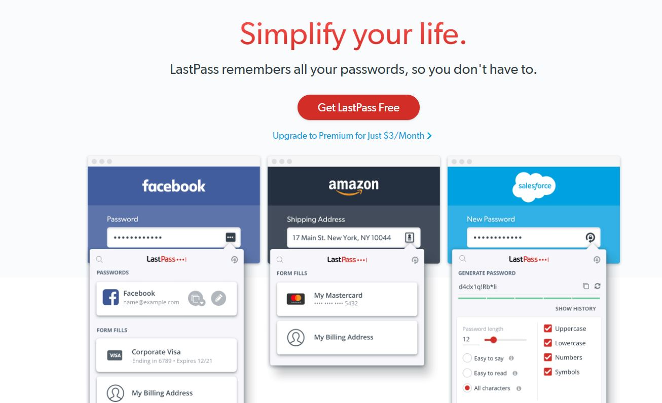 LastPass home page copy