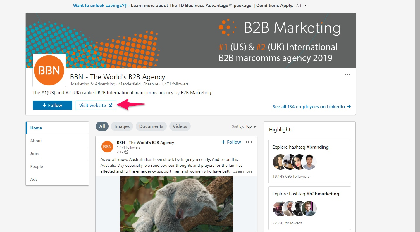 LinkedIn company website button