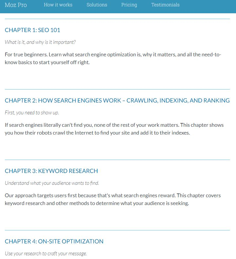 Moz SEO guide example