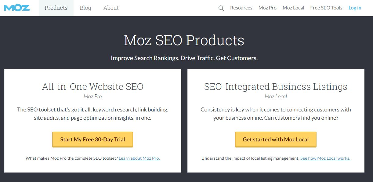 Moz product page