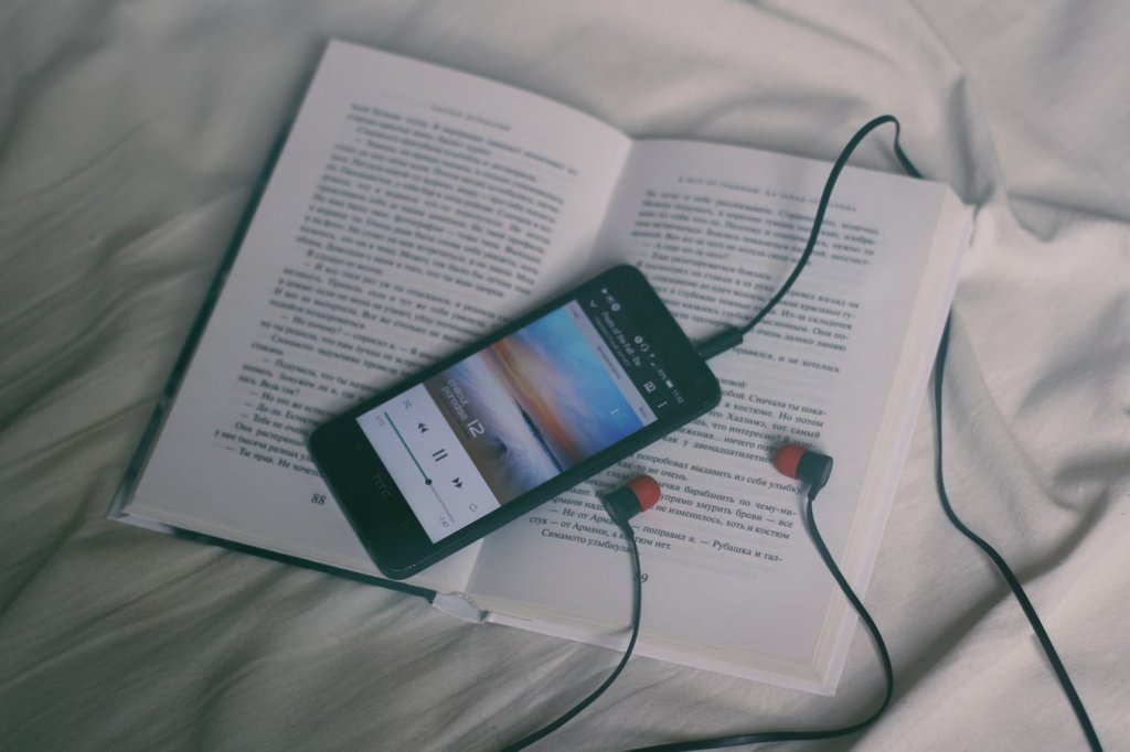 Phone on top of book