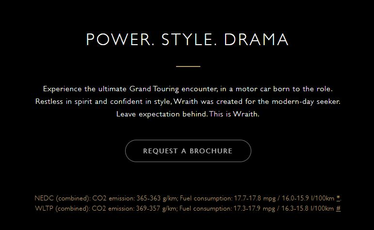 Request a brochure for a Wraith