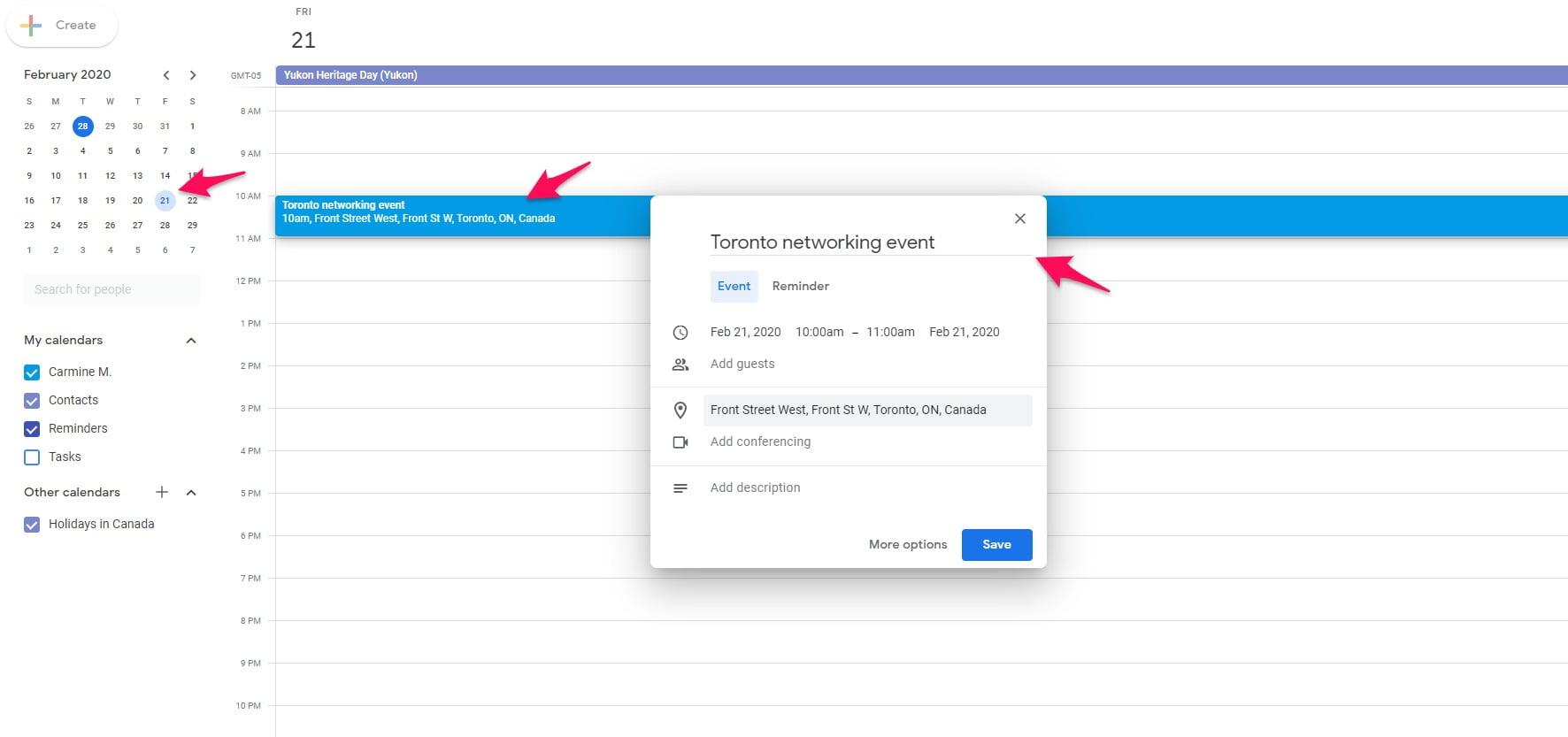 Scheduling event on Google Calendar