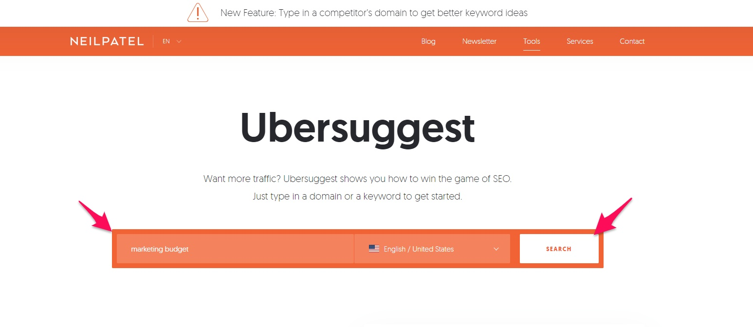 Typing into Ubersuggest