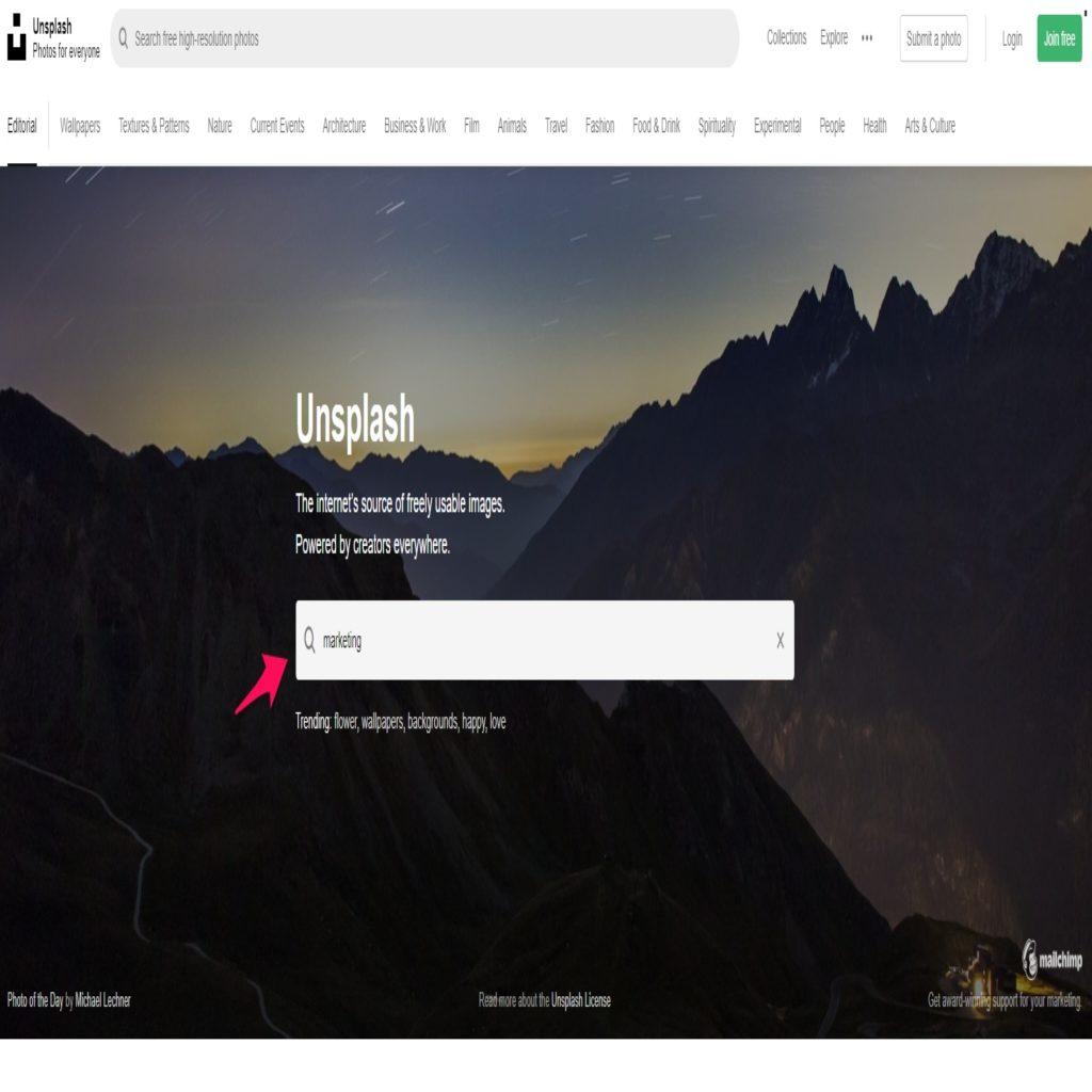 Unsplash home page
