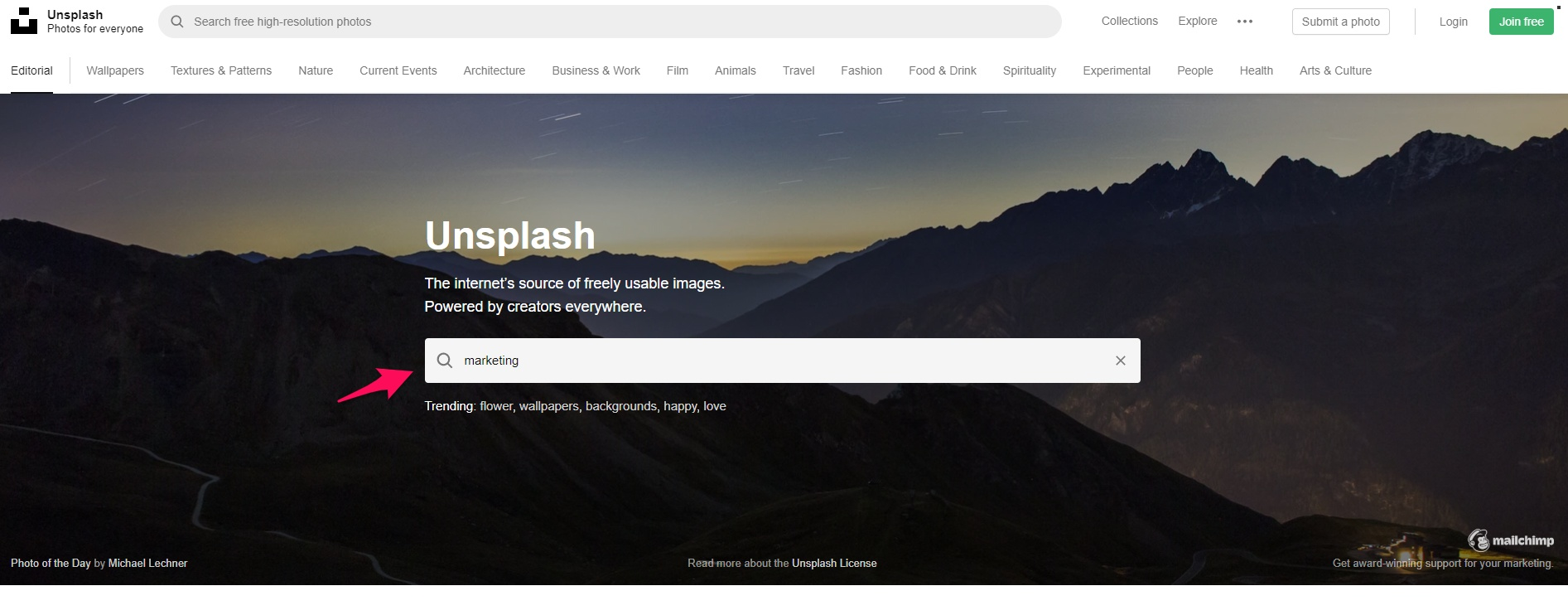 Unsplash home page