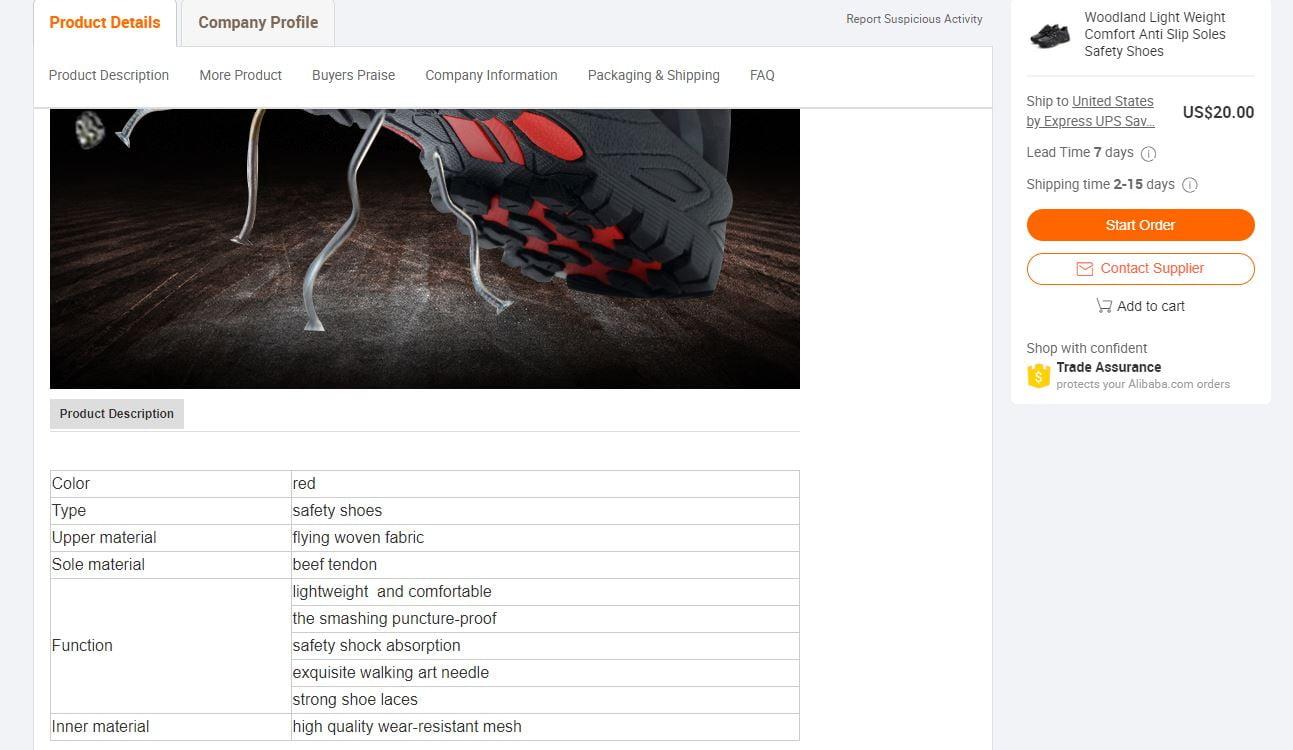 Alibaba product description