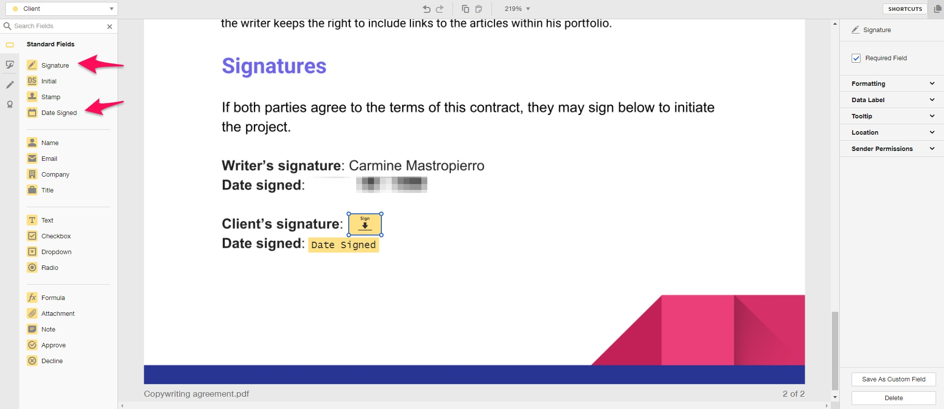 Customizing DocuSign agreement