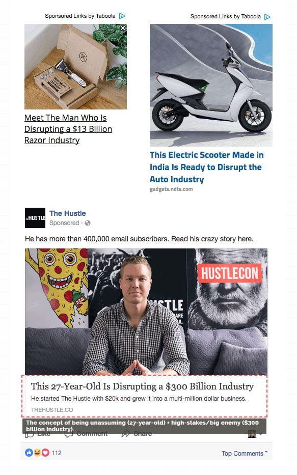 Disruption headlines example
