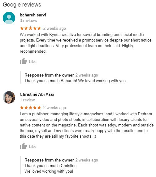 Google reviews example