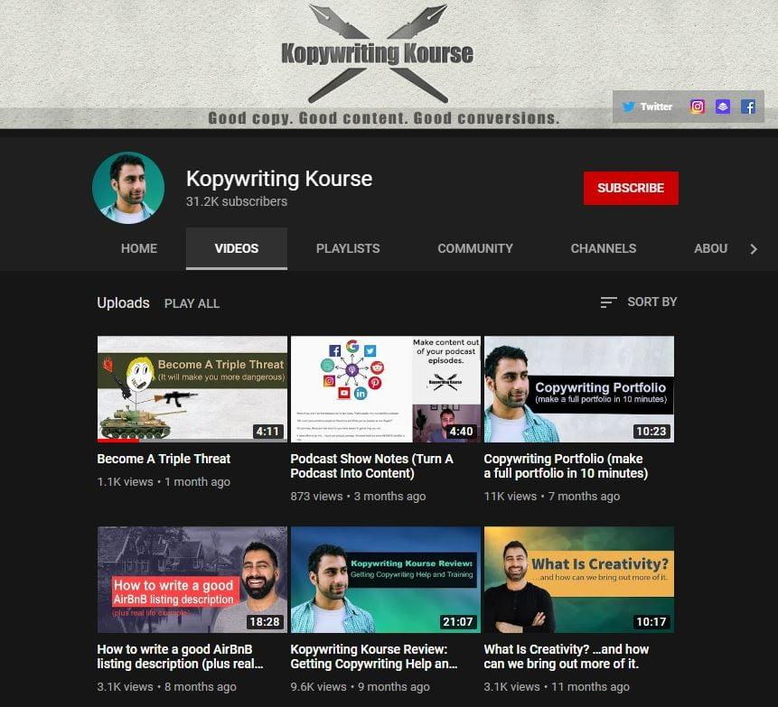 Kopywriting Kourse YouTube