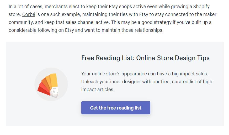 Shopify lead magnet example