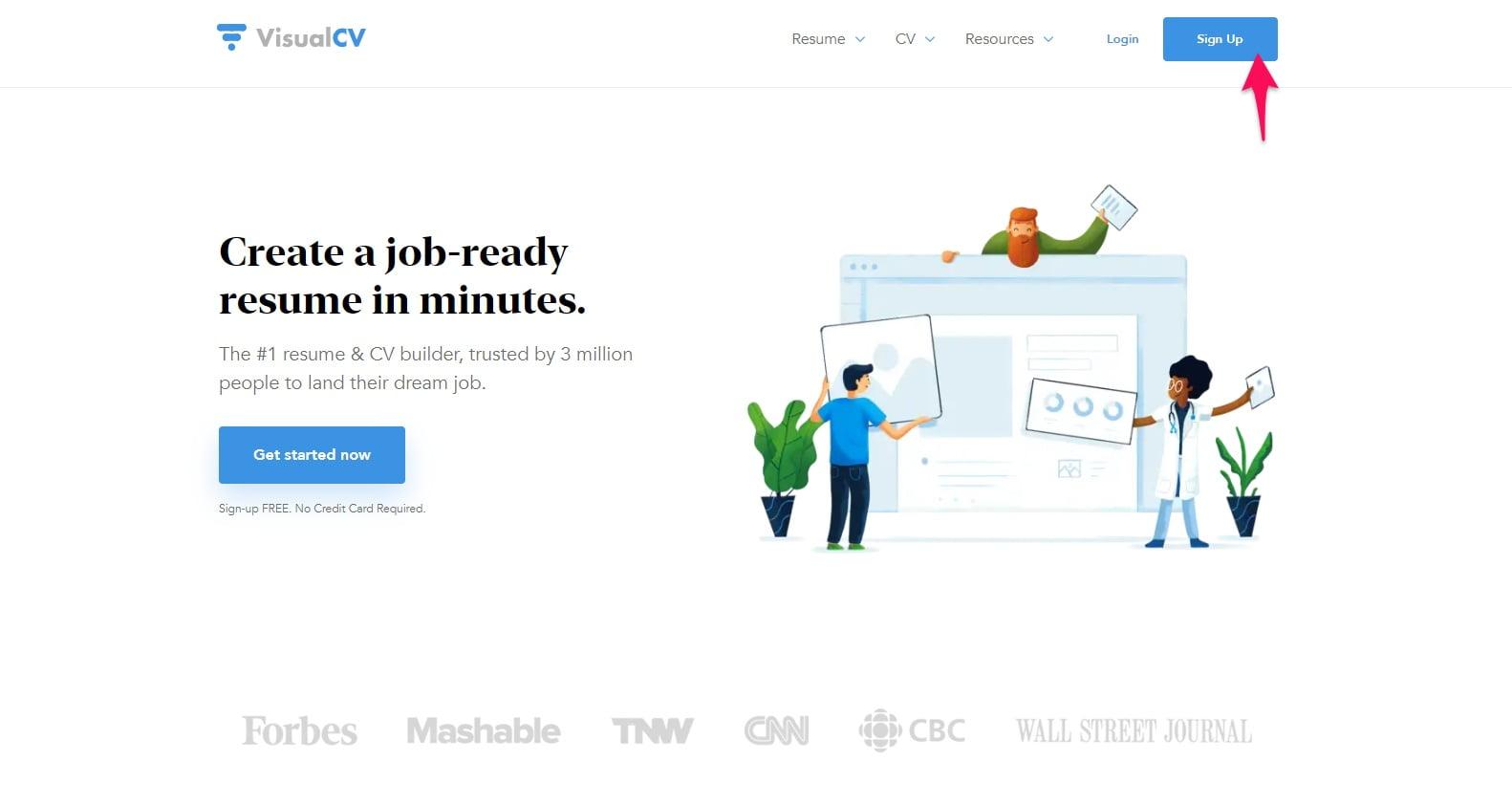 VisualCV sign up