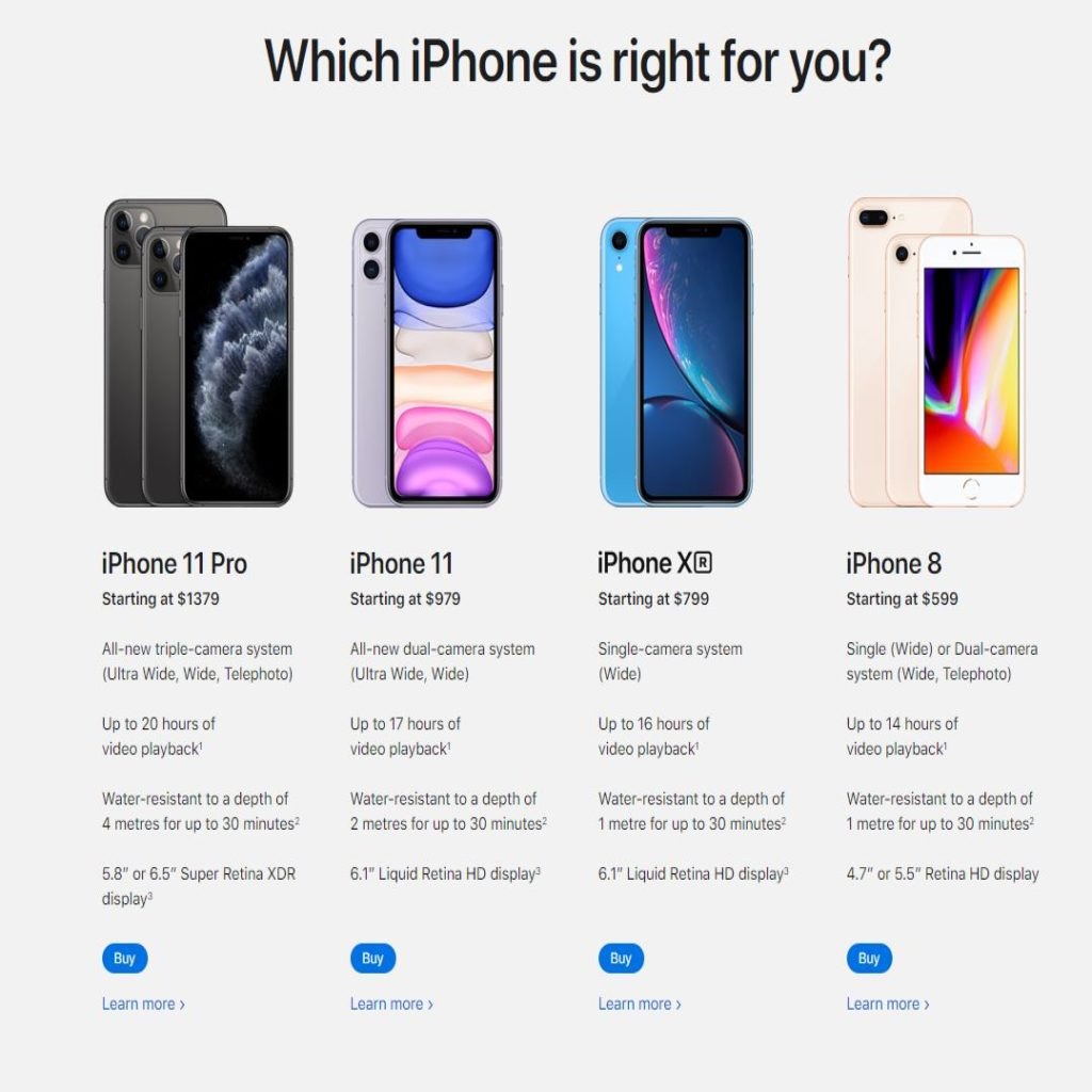 iPhone line up