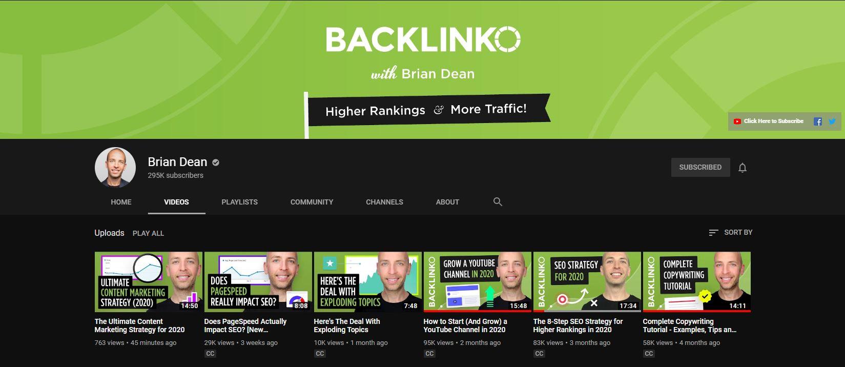Backlinko YouTube