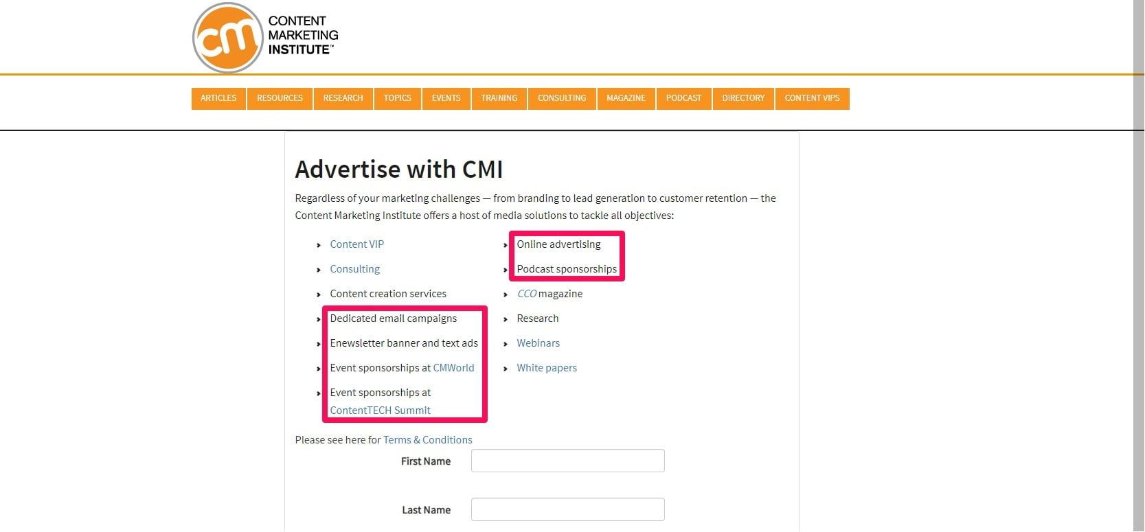 CMI advertising