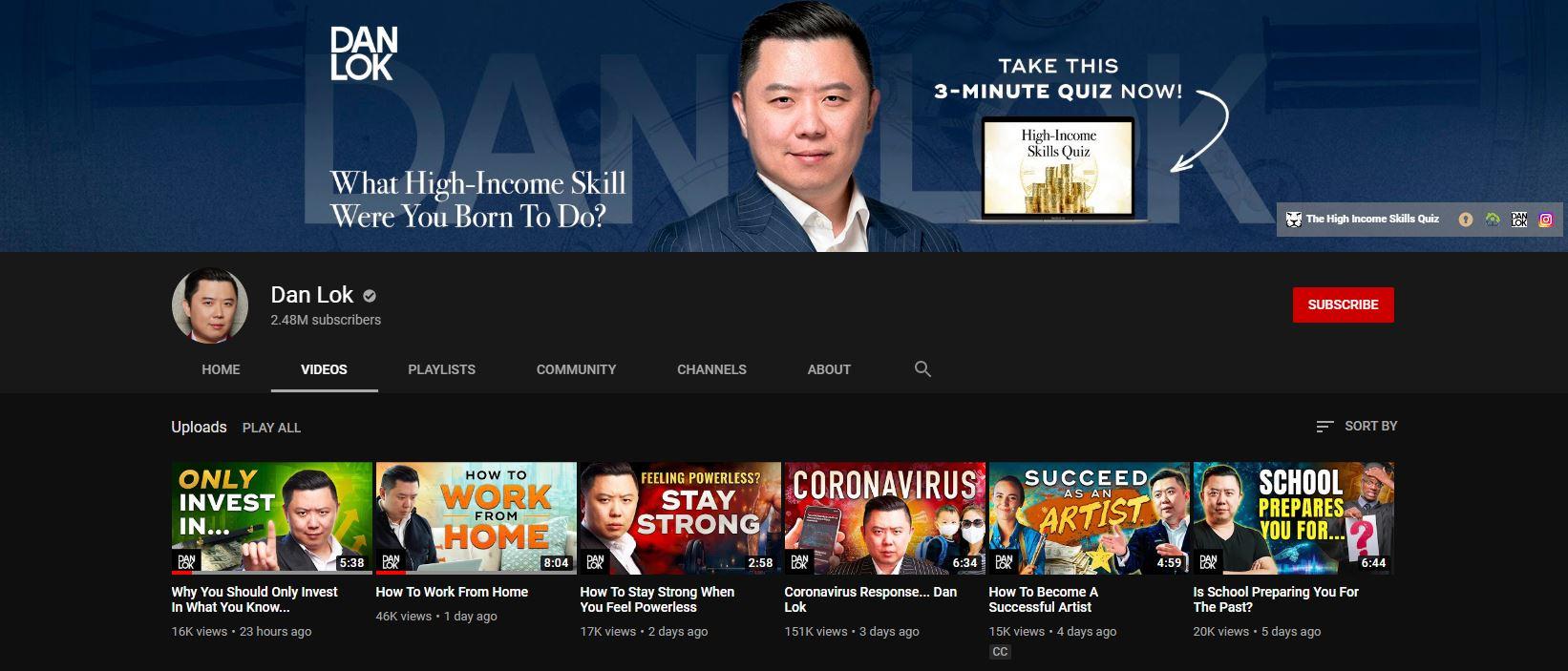 Dan Lok YouTube chnnale