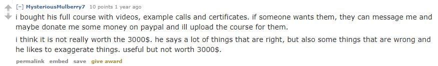Dan Lok course comment