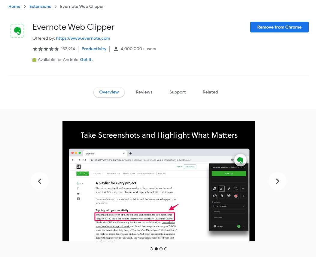 Evernote Chrome