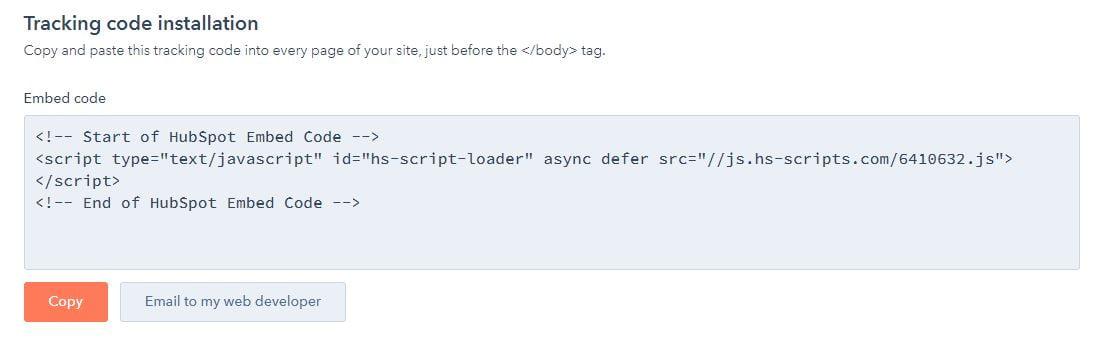 HubSpot popup code