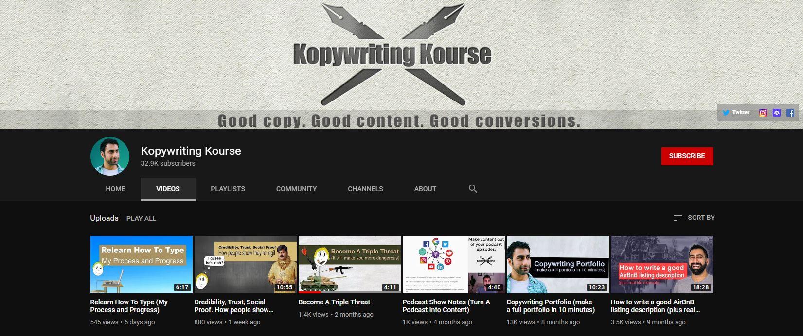 Kopywriting Kourse YouTube channel