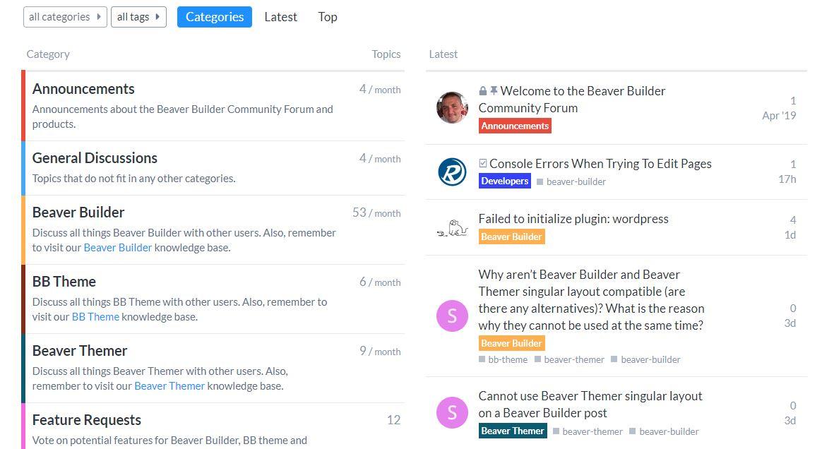Beaver Builder forum