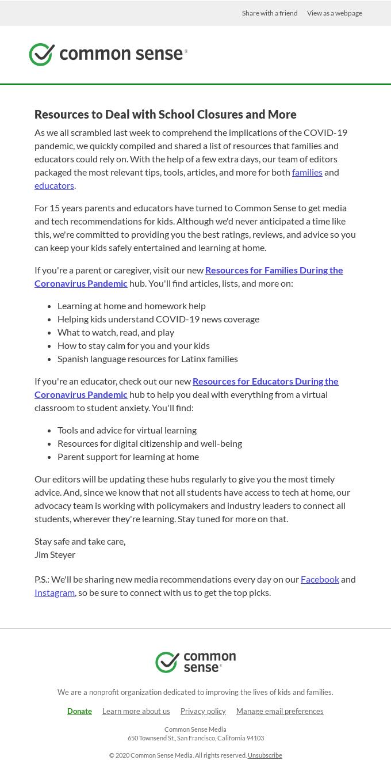 Common Sense newsletter 1