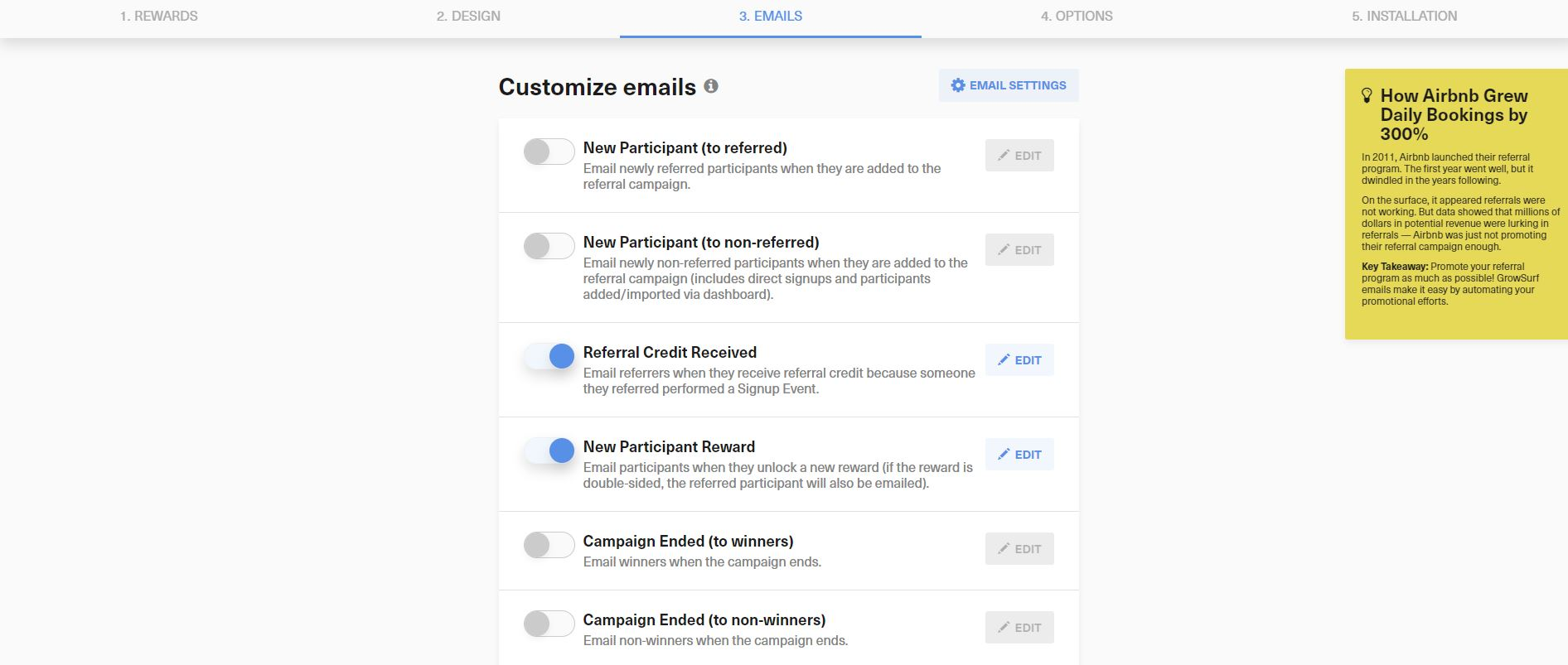GrowthSurf email settings