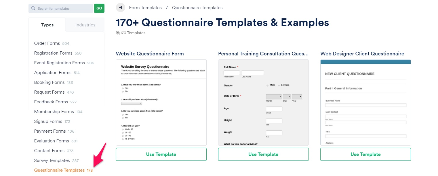 JotForm template options