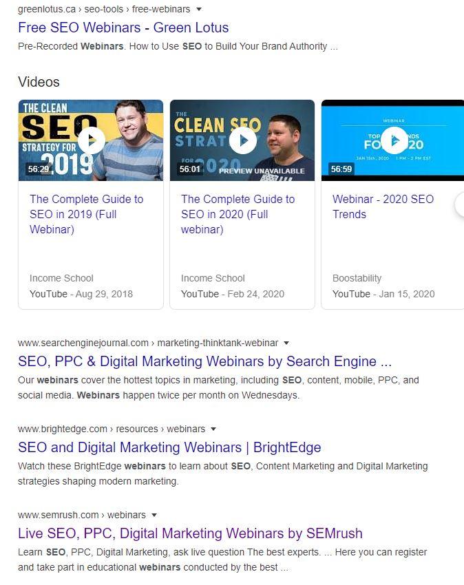 SEO webinar results