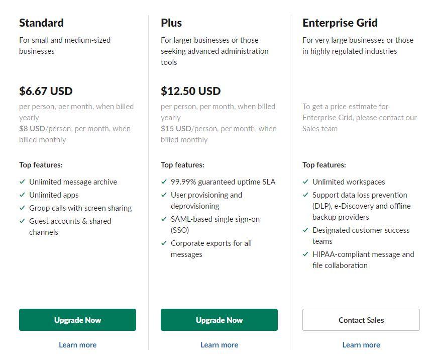 Slack pricing plans