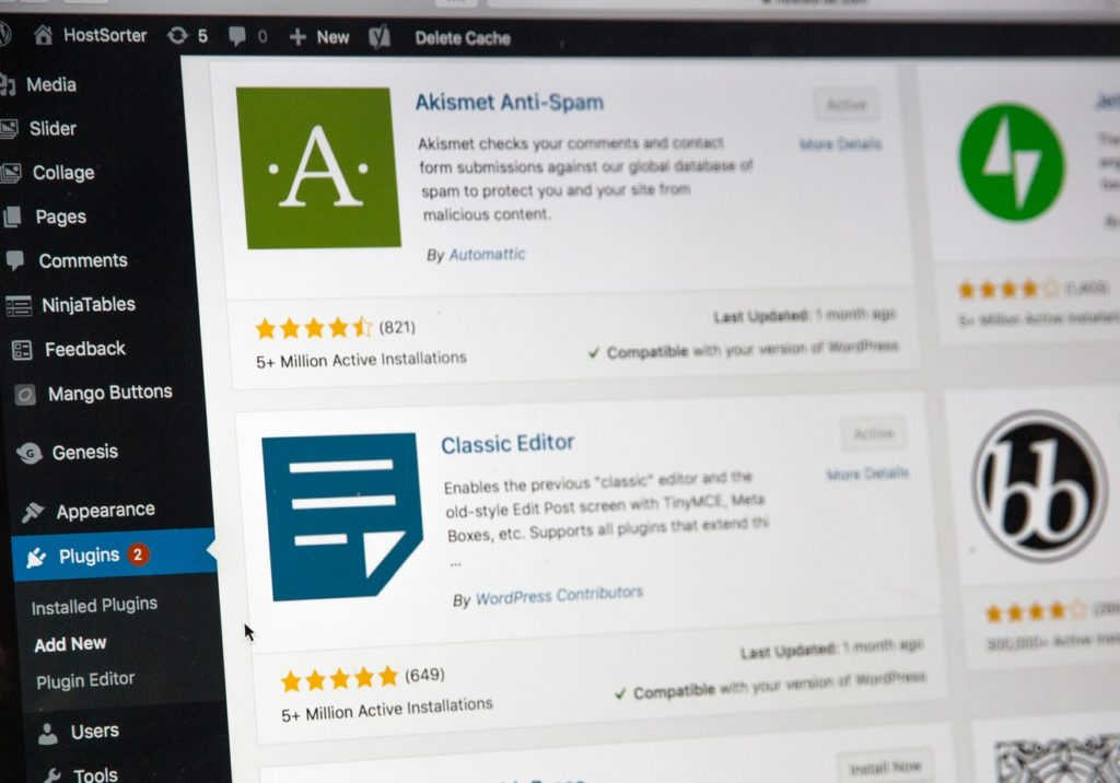 WordPress dashboard and plugins