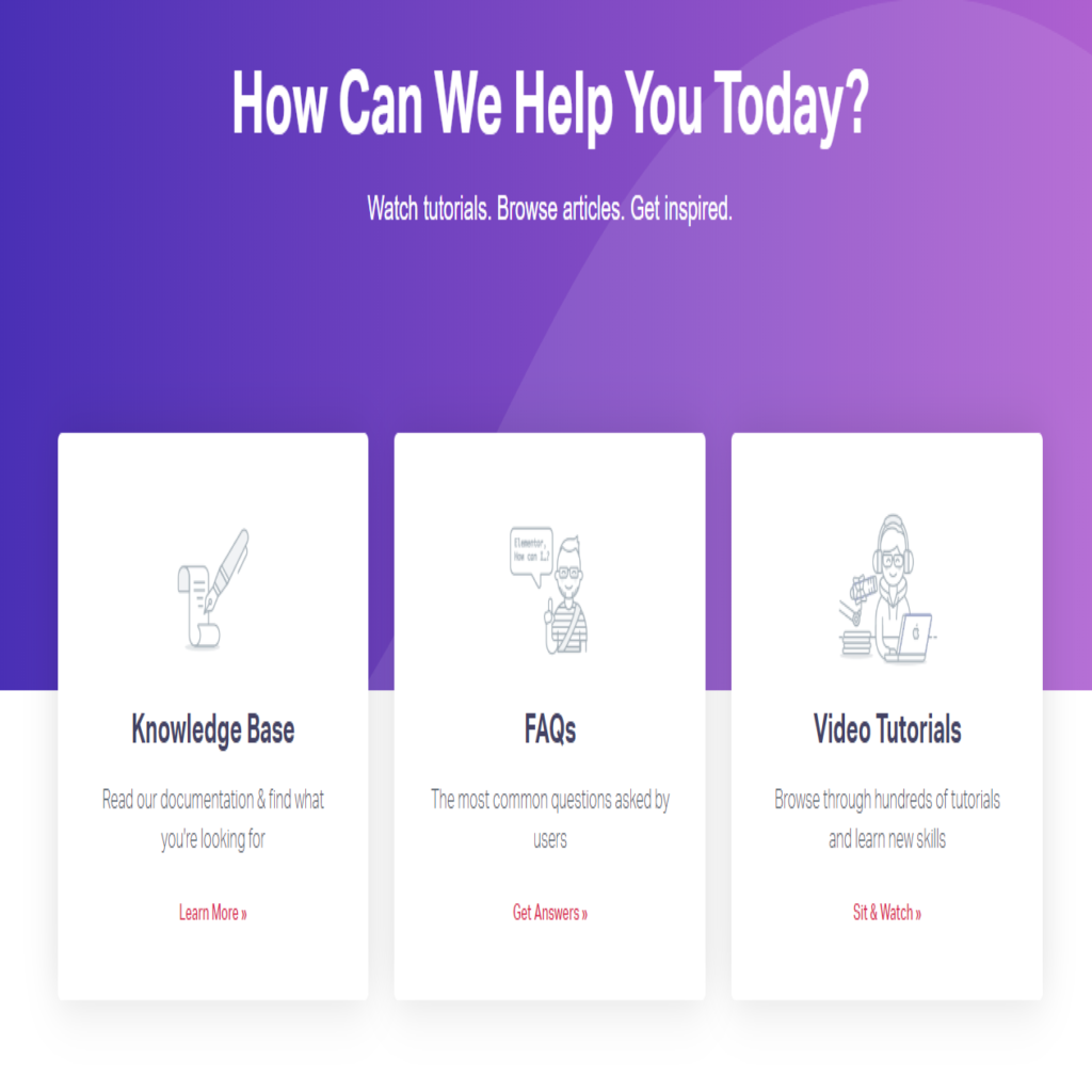 Elementor support page