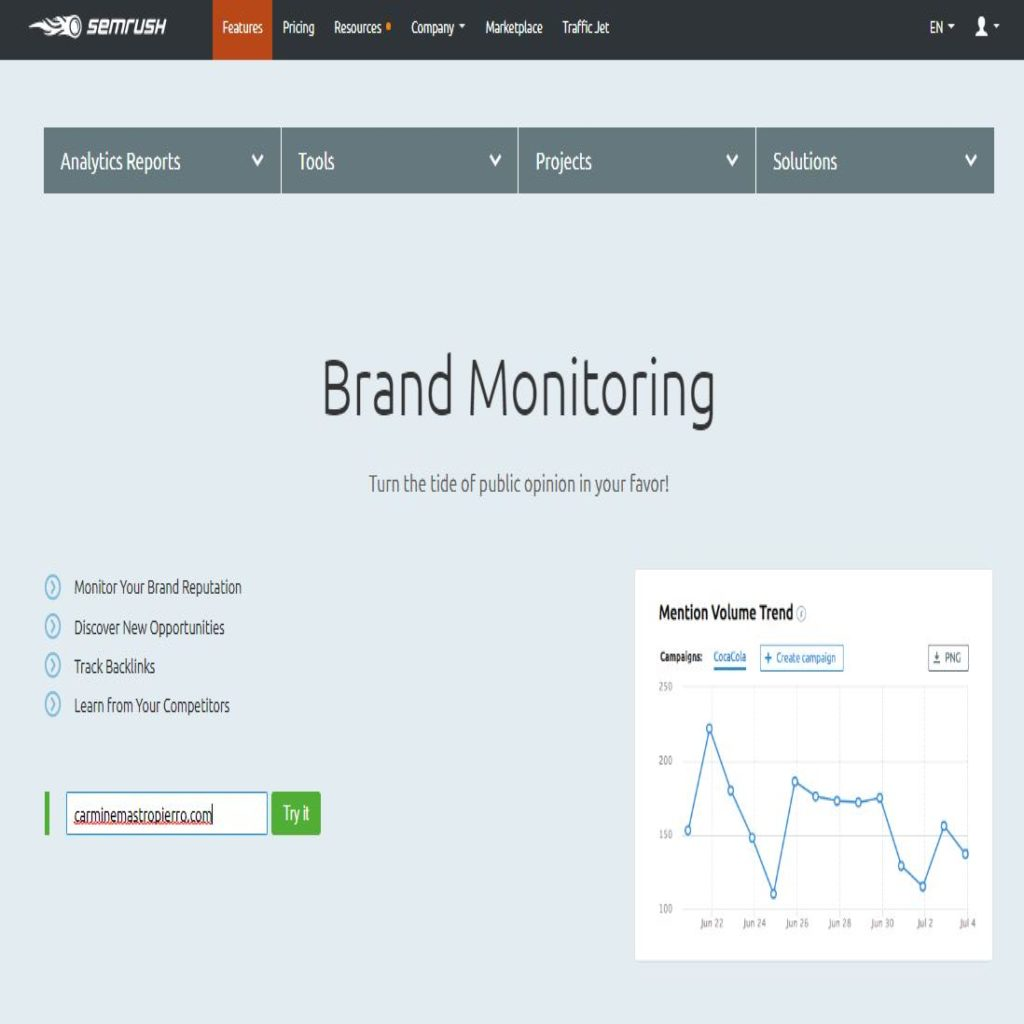 SEMrush brand monitor