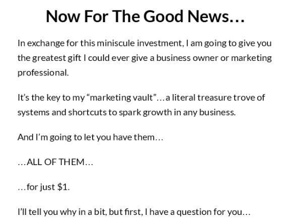 Sales letter promise