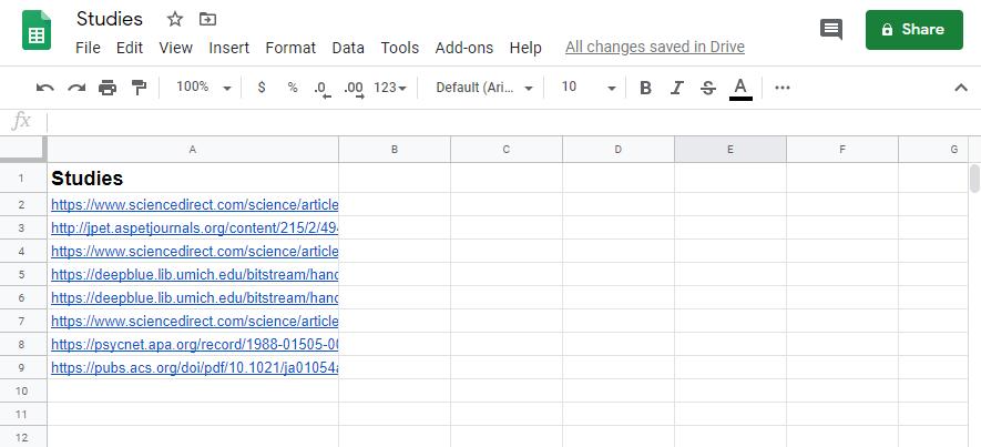 Studies spreadsheet