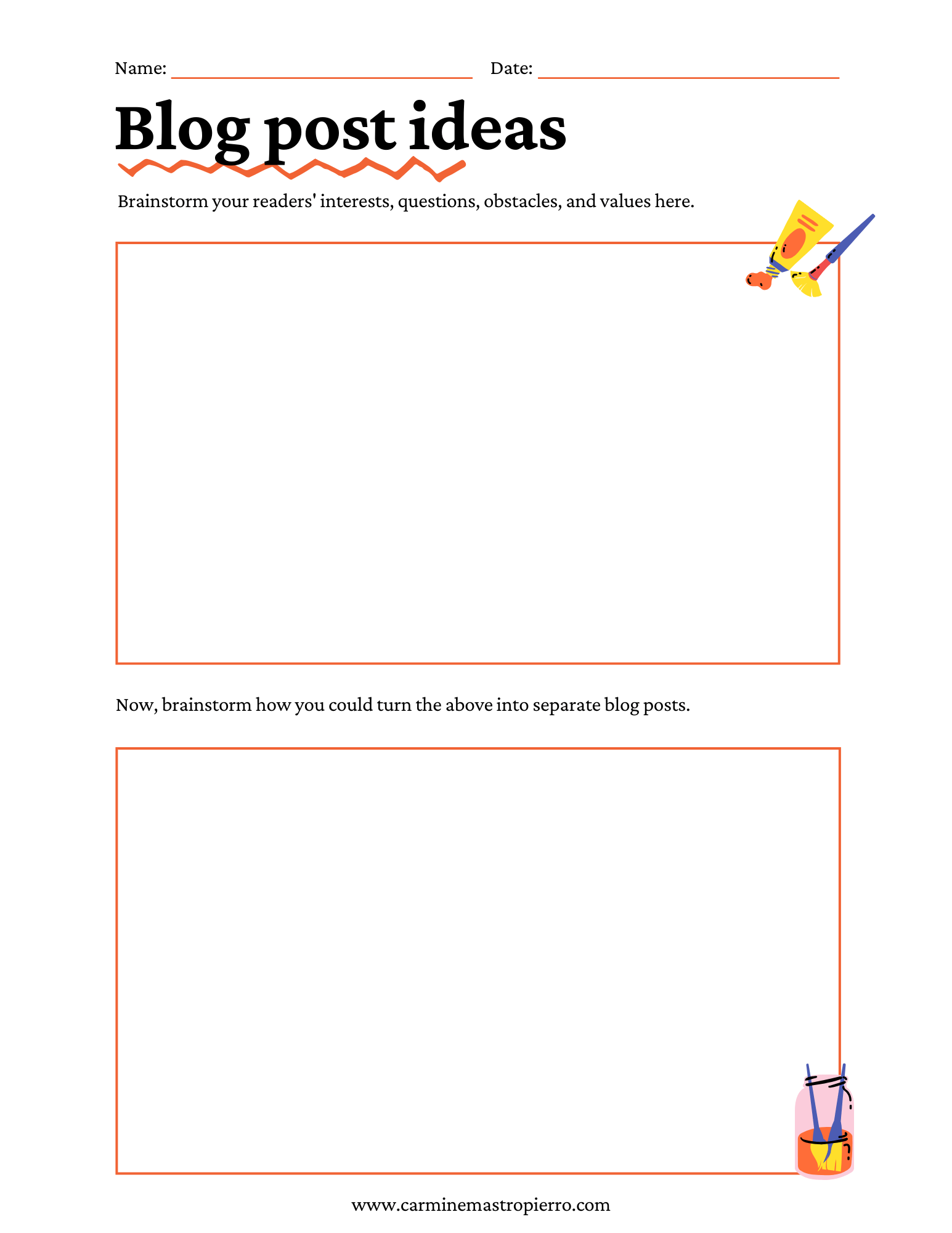 Blog post idea worksheet