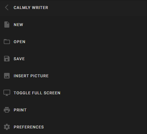 Calmly Writer settings