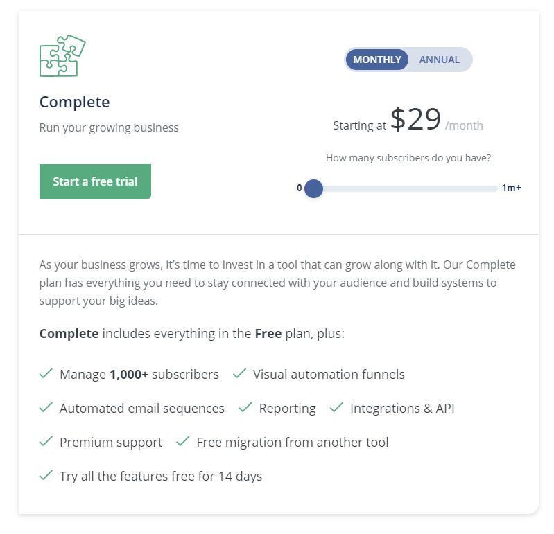 Complete plan ConvertKit 1
