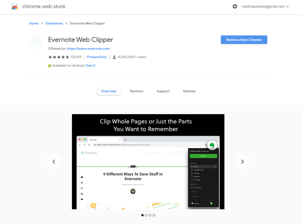 Evernote Chrome