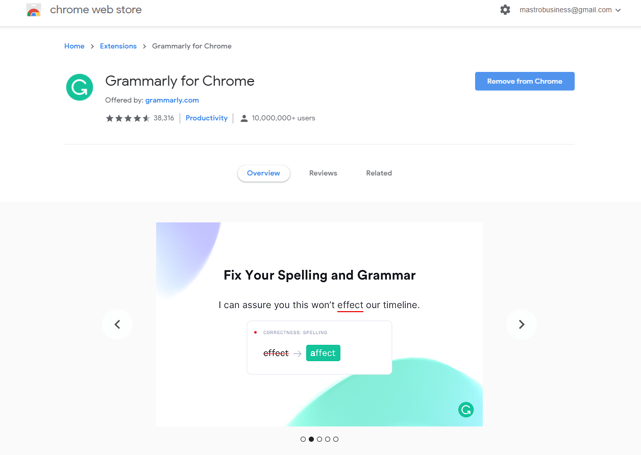 Grammarly Chrome store