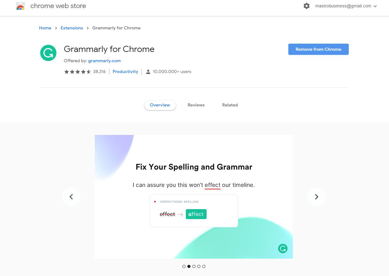 Grammarly Chrome store