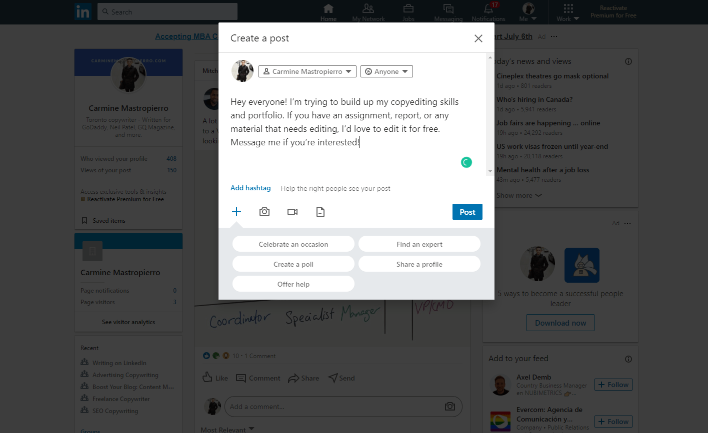 LinkedIn announcement