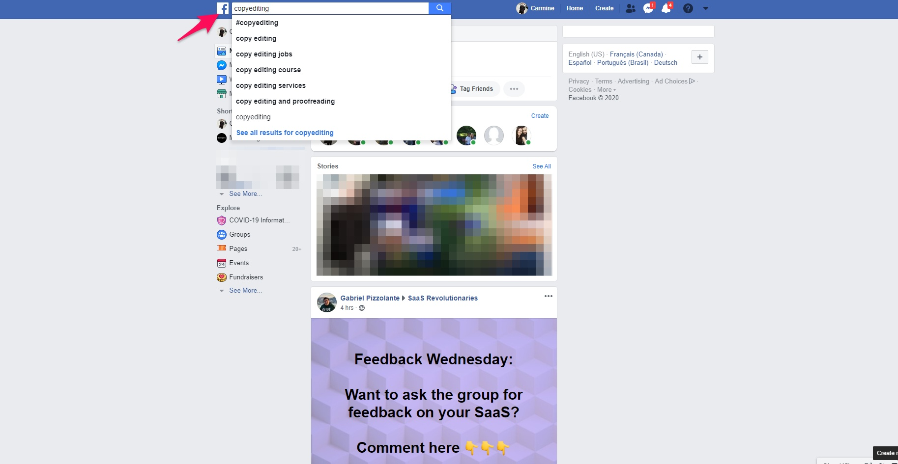 Searching for copyediting FB groups