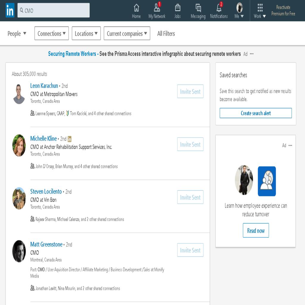 Searching prospects on LinkedIn