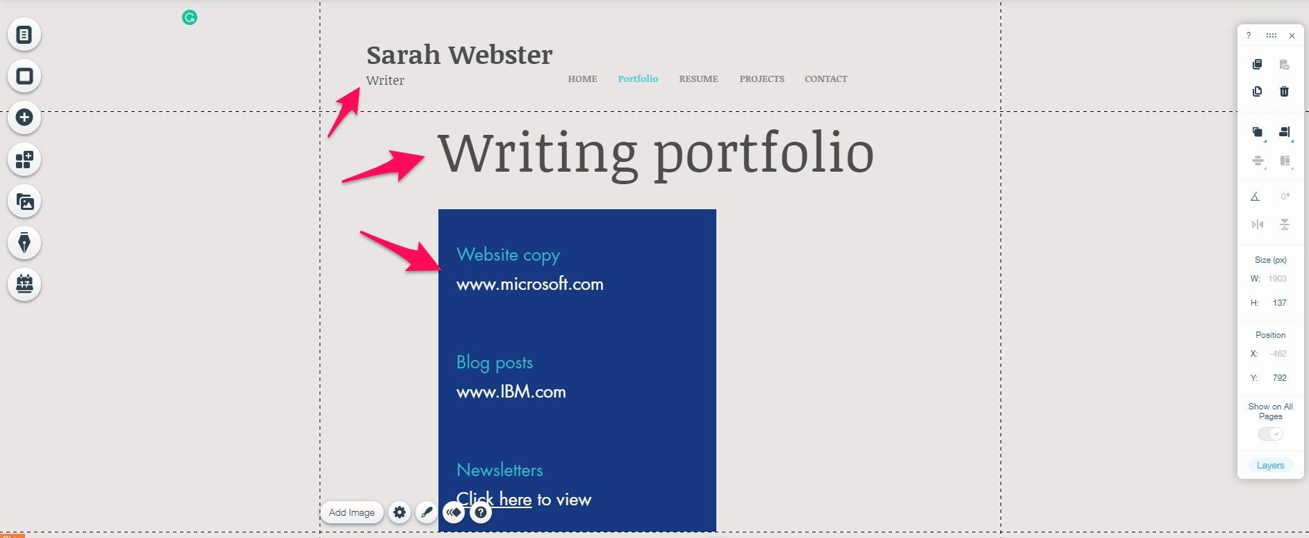 Wix portfolio page