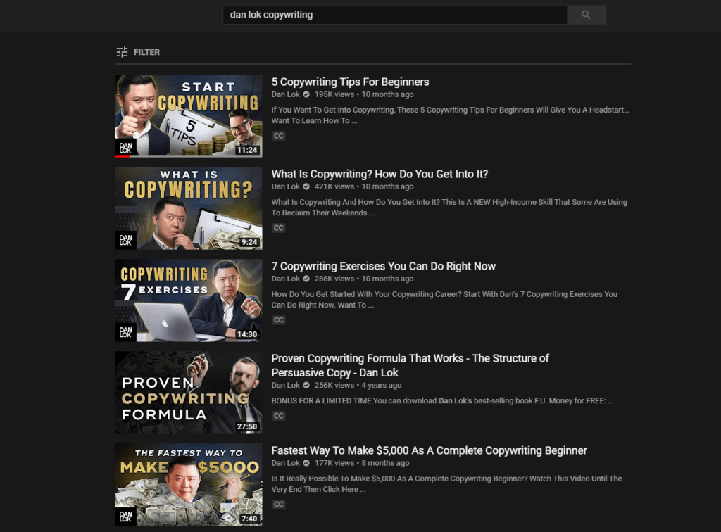 Dan Lok copywriting videos 1