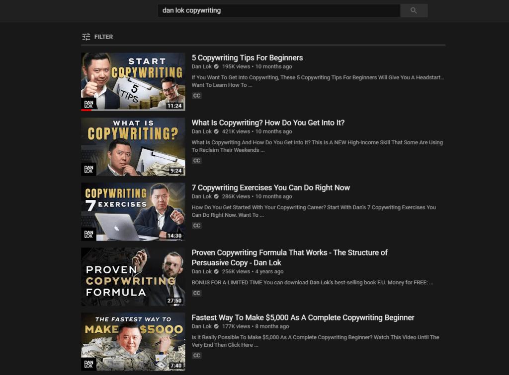 Dan Lok copywriting videos