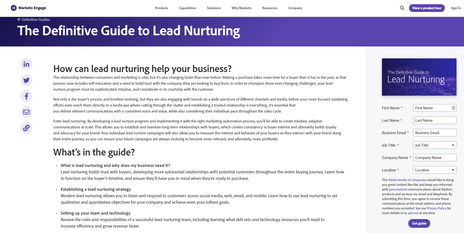 Marketo lead nurture guide